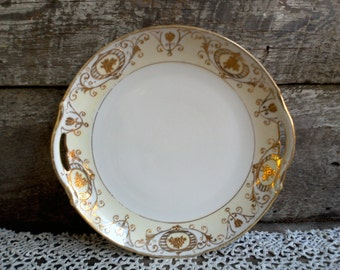 """GOLD HANDPAINTED NIPPON, Gold Dual Hanlde Cake Plate, Appetizer Plate, Wedding, Anniversary, 9 5/8"""", Holiday, Luster, Gold Gilt, Antique Art"""