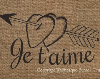"""Je t'aime Stencil - French """"I love you"""""""