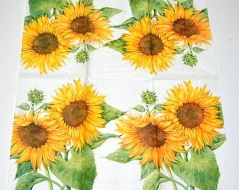 Sunflower Paper Napkins for Decoupage, Floral Print Tissue Paper, Serviette, Decoupage Paper Napkins, Scrapbooking Supplies