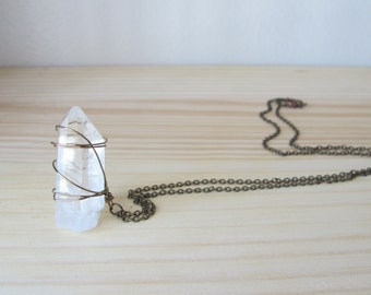 Long Wrapped Pointed Crystal on Brass Chain