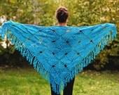 Blue Triangle Scarf Shawl  Crochet Handmade