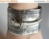 65% OFF SALE Antique Victorian Sterling Silver 925 Islamic Muslim Persian Knife Sword Dagger Flatware Repoussé Cuff Silverware Bracelet  Spo
