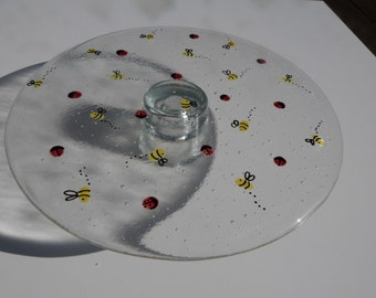 Fused Glass Bee & Ladybird Cakestand