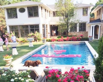Graduation Pool Party Ideas decorate_walk_way Floating Pool Letters Wedding Monograms Wedding Day Decor Pool Decor Outdoor Party