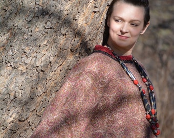 Tibet - fashion felt Plus Size sweater from natural silk and A-Grade wool, lace and hand embroidery - OOAK -  just to order!