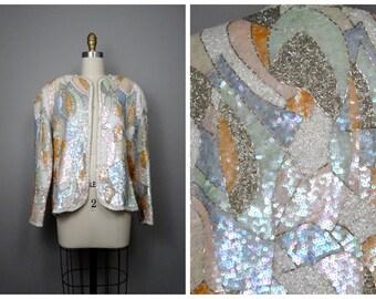 VTG Pastel Sequin Jacket / Art Deco Light Colored Sequined Beaded White Blazer L XL
