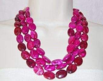 Orchid Purple Fuchsia Statement Neckclace Bold Chunky Multi-Strand Jewelry