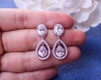 CZ  Earrings,  Wedding Jewelry Bridal Earrings Cubic Zirconia Bridesmaid Gift Wedding Earrings