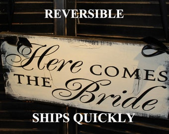 Here Comes the BRIDE Sign/Reversible Options/Photo PropGreat Shower Gift/Black/Ivory/Vintage Crackle/Wood Sign/U Choose Back/Fast Shipping
