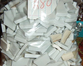 Take 40% Off, Broken China, Heavy China, Hand Cut, Mosaic Pieces, Mosaic Tiles, White Tiles,