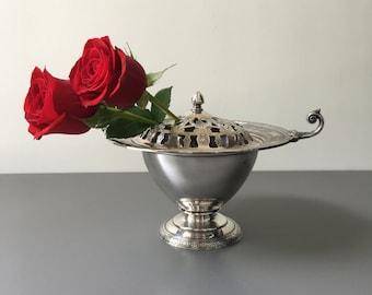 vintage ornate silver flower frog Wilcox deco