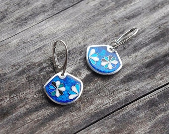 Silver earrings with cloisonne enamel