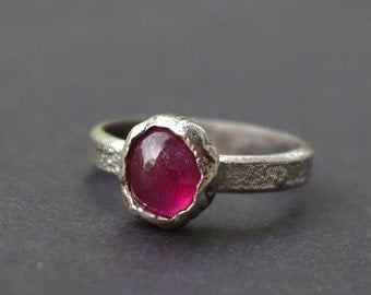 Handmade silver ring with natural Ruby.