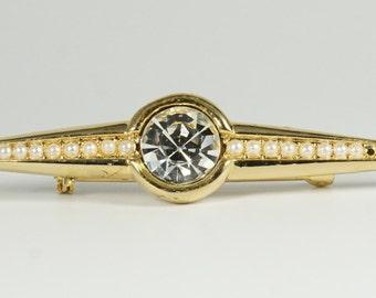 Victorian Bar Pin, Art Deco Bar Pin, Seed Bead Pin, Vintage Victorian Revival Faux Diamond & Seed Pearl Gold Tone Bar Pin Brooch
