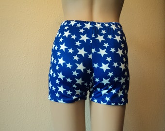 Wonder Woman Costume spandex Shorts Blue with White Stars