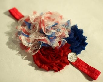 6-18 mo. Patriotic Headband - Red, White & Blue Headband - Fourth of July Headband - Red White Blue Baby Headband - Ready to Ship