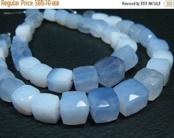 """BIG SALE 2 Strands-AA Natural Blueish Chalcedony Faceted Big Cube- 7.50"""" Strand -Stones measure- 7-9mm"""