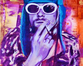 Nirvana Kurt Cobain 12x18 Poster Musician Guitar Celebrity Print Wall Art Colorful Abstract Pop Art