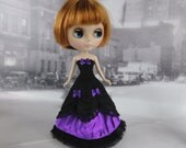 Long black and purple victorian dress hand made fits Blythe doll