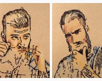 ORIGINAL ARTWORK - 'Never Been A Lumberjack' - Pencil & Ink Drawing x 2 - Kirrily Duff