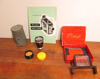 Kodak Brownie 8mm Movie Camera Accessories and  Manual / Wide Angle Lens and Finder / Filter