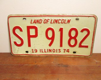 Illinois License Plate 1974 SP 9185 Red White
