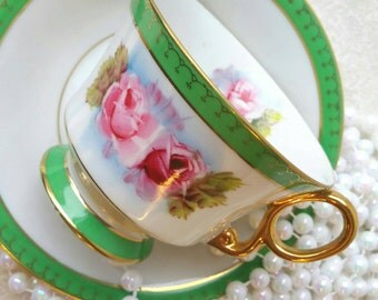 SHAFFORD Vintage Bone China Teacup and Saucer / Gold and Green /Pink florals/ Made in Japan /Tea Cup and Saucer/ Hand Painted