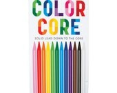 Set of 12 Color Core Woodless Colored Pencils Art Supplies Drawing Kawaii Scrapbooking Stationary Stocking Stuffer Gift KWO35