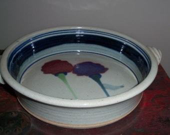 Vintage Handmade Stoneware Pottery Casserole Dish Pie Plate Deep Handles