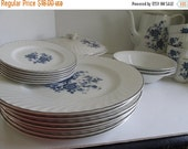"SALE Wedgwood Blue Floral Dinner Plates Silver Trim 10"" Plates Enoch Wedgwood Tunstall Royal Blue Ironstone England Blue and White Dinner Pl"