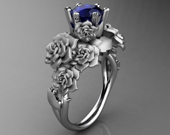 Nature Inspired 14K White Gold 1.0 Ct Sri Lanka Blue Sapphire Rose Bouquet Leaf and Vine Engagement Ring R427-14KWGSNBS