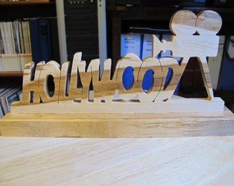 Hollywood Wooden Hand Cut Tabletop Sign