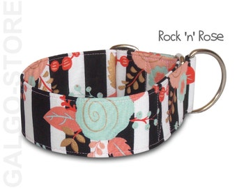 """girl dog collar *Rock 'n' Rose* mint and coral roses, stripes; mint coral, martingale, buckle or tag collar; 1""""- 2""""; S- XL, greyhound collar"""
