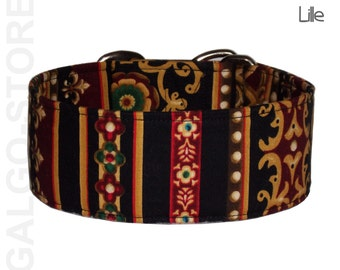 """Martingale dog collar """"Lille"""", Sighthound collar, greyhound collar, galgo, whippet, greyhound, saluki, gold, wide 1.2"""", 1.6'' or 2"""""""