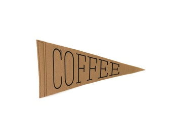 Coffee Screen-printed Felt Flag  - Coffee Lover Flag - Latte