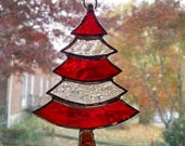 Stained Glass Christmas Tree Ornament - Suncatcher - Red and Clear Glass - Holiday Decor - Christmas Gift - Stocking Stuffer