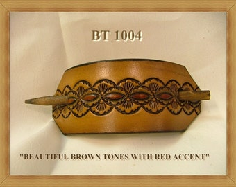 Hand tooled Leather Ponytail Barrette No. BT 1004