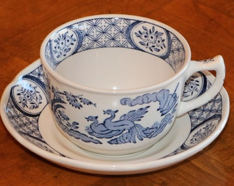 """Mason's English Ironstone Blue and White Transferware """"Old Chelsea-Blue"""" Pattern Four Cup and Saucer Sets"""
