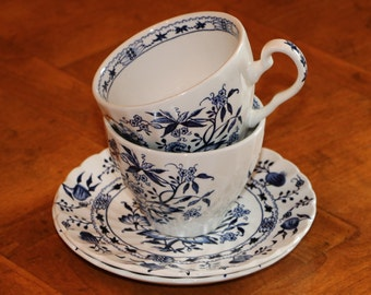 "Johnson Brothers English Ironstone ""Saxony"" Blue and White Transferware Pattern Two Cup and Saucer Sets"