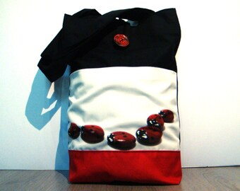Red ladybug, hand made tote bag, painted rock photography, garden's animals, wearable art