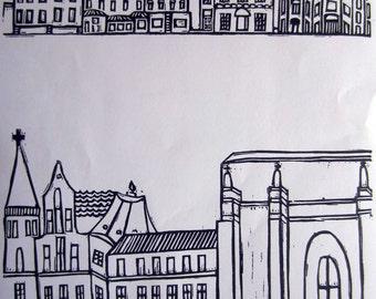 Contemporary art linoprint linen and cotton handprinted teatowel 'Manhattan