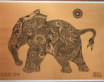 Thai traditional art of Little Elephant (Calf) by printing on sepia paper
