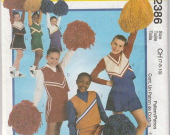 McCall's Costumes 2386 Size 7-8-10 Girls' Cheerleader Costumes Sewing Pattern 1999 Uncut