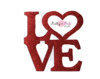 Red LOVE Glitter Iron On Vinyl Decal-DIY Iron On Patch-Glitter Vinyl Patch- Iron On Letter ...