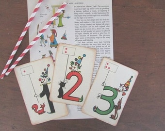 Party Table Numbers Vintage Circus Clowns ONE Card