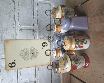 Table Number Holders 8 Vintage Wedding Lusterware Salt and Pepper Shaker Collection Cafe Table Numbers