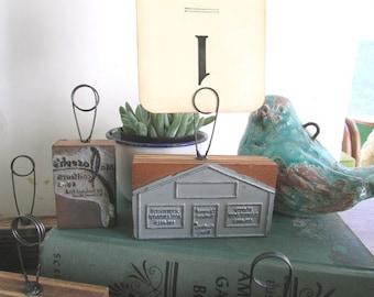 Table Number Holder Vintage Rustic Wedding Printer's Block Industrial Decor Photo Holder OOAK Steampunk Wedding Decor