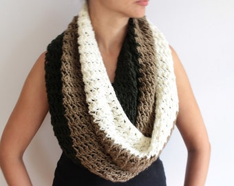 Hand knit Cream Brown and Green Knit Cowl Oversized Infinity Scarf Hooded Cowl Loop Scarf Wool Blend Scarf Winter Fashion Gift for her