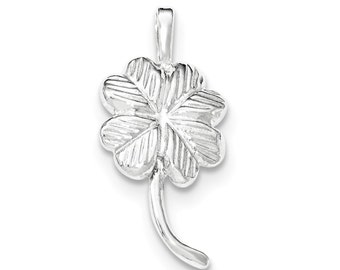 Sterling Silver Polished and Textured Clover Chain Slide
