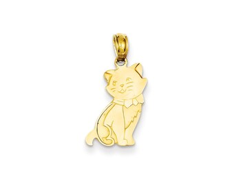 14k Gold Sitting Cat Pendant